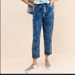 Anthropologie Gingham Check Bow Blue Black Pants